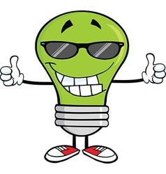 Light bulb cartoon with thumbs up vector image