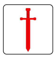 Medieval sword icon red vector