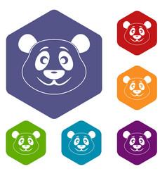 Panda icons set hexagon vector