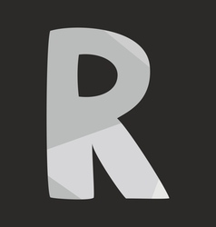 R low poly wrapping surface alphabet letter vector