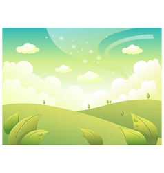 Rolling landscape and sky vector