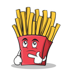 Thinking face french fries cartoon character vector