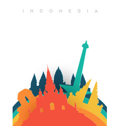 travel indonesia 3d paper cut world landmarks vector image