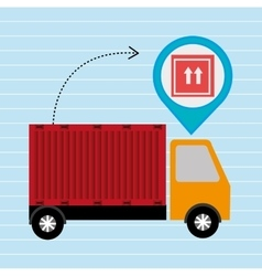 Truck delivery cargo pin vector