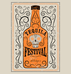 typographic retro grunge tequila festival poster vector image