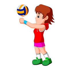 young girl volleyball player vector image