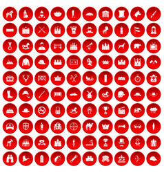 100 horsemanship icons set red vector