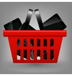 Red shopping basket with tablet vector