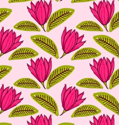 Big pink flower with green leaf vector