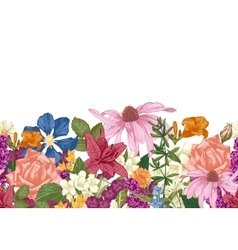 Hand drawn seamless floral border vector