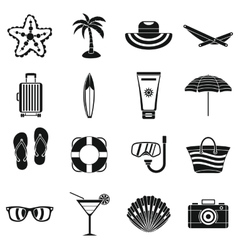 Summer rest icons set simple style vector