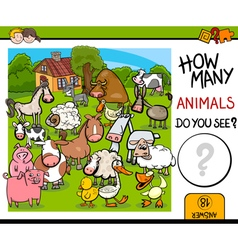 counting farm animals activity vector image