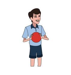 happy boy holding ball icon image vector image