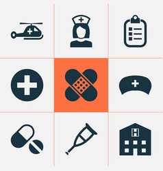 Drug icons set collection of bandage mark nanny vector