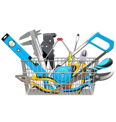 Supermarket basket with hand tools vector