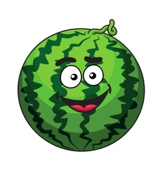 Happy cartoon green watermelon fruit vector