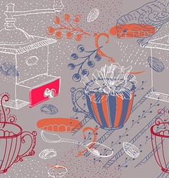 Doodle background with coffee mill flowers and vector image