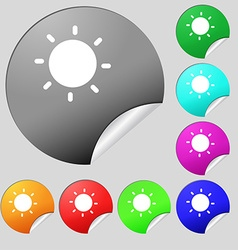 Sun icon sign set of eight multi-colored round vector