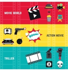 Film banner set vector