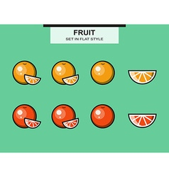 Set of oranges and grapefruits vector