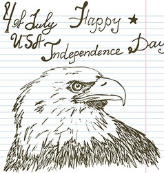 Hand drawn sketch american bald eagle text happy vector