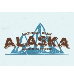Alaska mountains typography vintage tee print vector