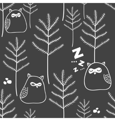 Seamless pattern of night in woodland with cute vector