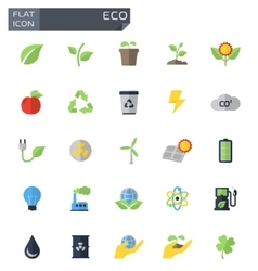 Flat eco icons set vector