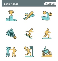 Icons line set premium quality of basic sport and vector