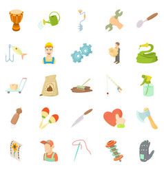 artisanal icons set cartoon style vector image