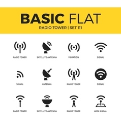 Basic set of radio tower icons vector