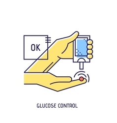 Blood glucose test Diabetes thin line icon vector image