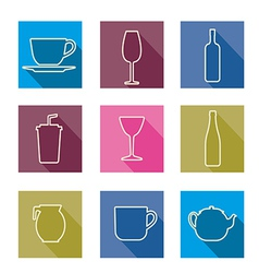 Bottle cup glass collection line silhouette vector image vector image