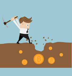 businessman mining for bitcoin vector image vector image