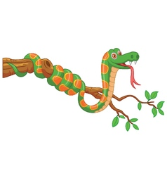 Cartoon green snake on branch vector image vector image