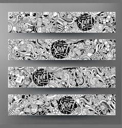 Cartoon hand drawn doodles sport banners vector