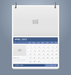 Clean calendar 2013 template design vector image vector image