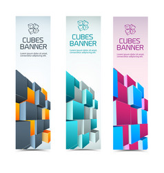 cubes abstract banners set vector image