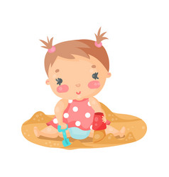 Cute cartoon baby girl playing with sand colorful vector