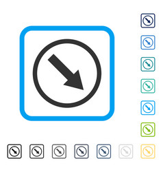 Down-right rounded arrow framed icon vector
