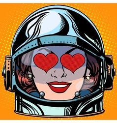 emoticon love Emoji face woman astronaut retro vector image
