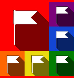 Flag sign set of icons with vector