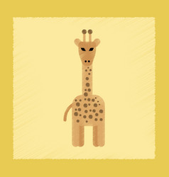 Flat shading style icon cartoon giraffe vector
