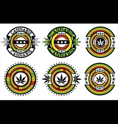 green marijuana cannabis leaf symbol background vector image