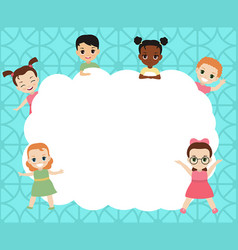 group of happy children group of happy children vector image