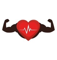 Heart cardio with strong hands vector