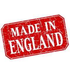 Made in england red square grunge stamp vector