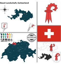 Map of Basel Landschaft small vector image vector image