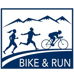 marathon runner bike cycle run race vector image