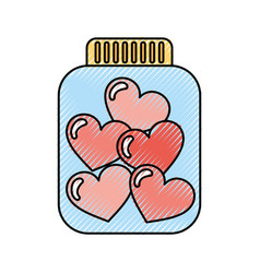 Mason jar bottle with hearts vector